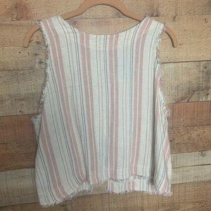 Cloth & Stone Pink & White Stripe Raw Hem Tank Top
